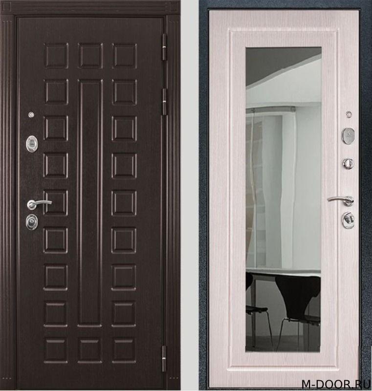 Стальная дверь с отделкой МДФ с зеркалом