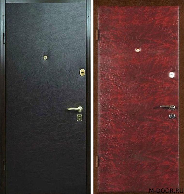 Уличная металлическая дверь с винилискожей