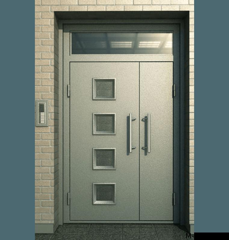 Полуторная металлическая дверь в подъезд со стеклом
