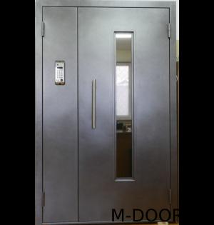 Стальная полуторная дверь в подъезд