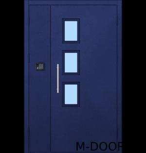 Стальная полуторная дверь в подъезд с тремя стеклопакетами