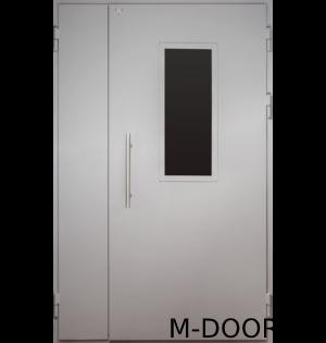 Полуторная стальная дверь в подъезд со стеклом
