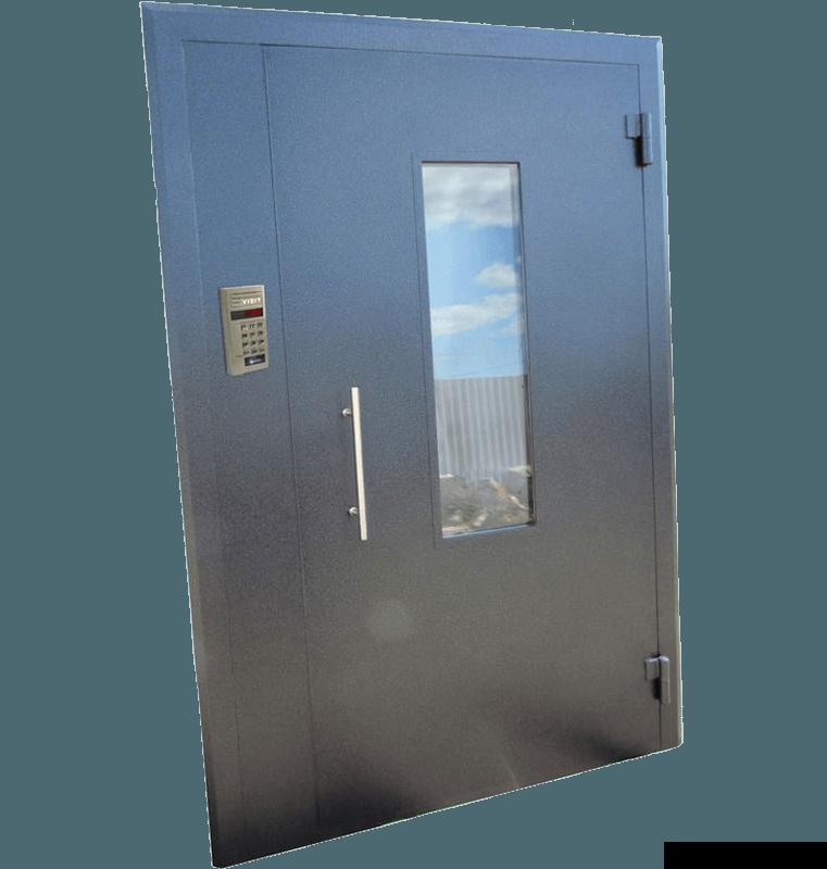 Металлическая дверь в подъезд с боковой вставкой и стеклом