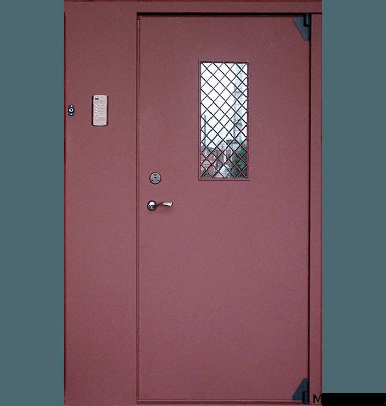 Металлическая дверь в подъезд со стеклом и решеткой