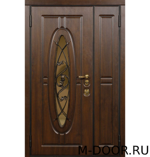 Металлическая двустворчатая дверь МДФ с ковкой и стеклом 4