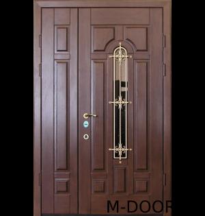 Стальная двустворчатая дверь МДФ с ковкой и стеклом 4