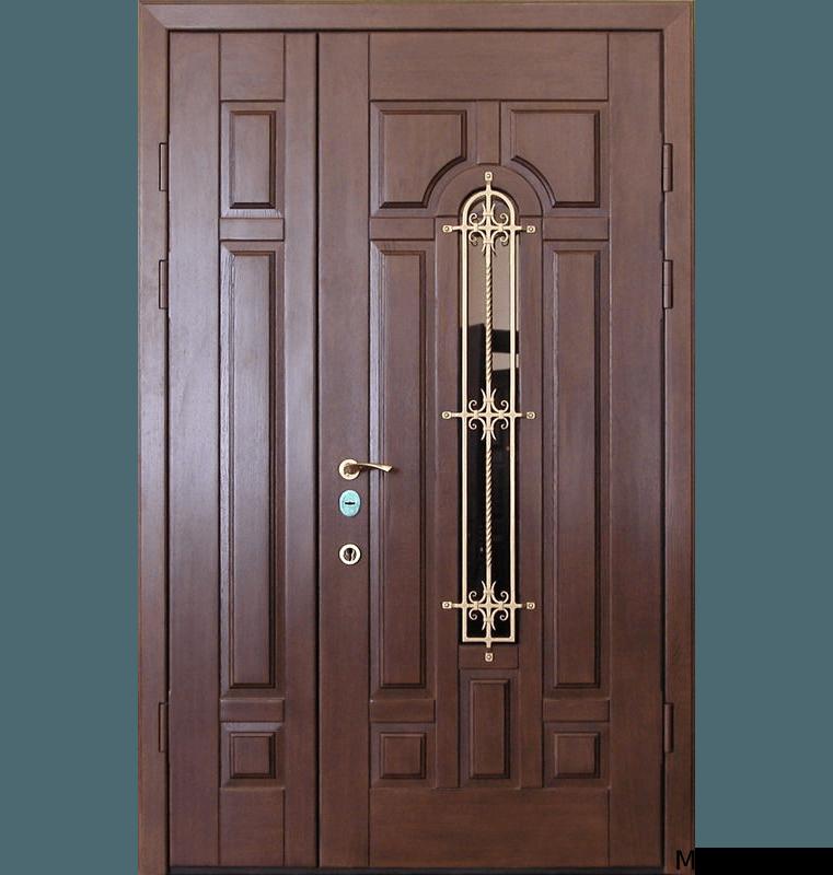 Стальная двустворчатая дверь МДФ с ковкой и стеклом