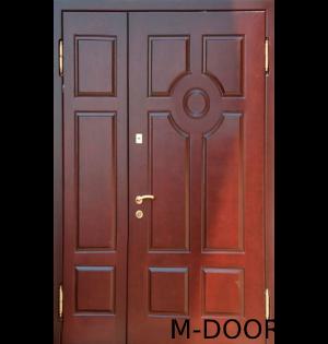 Металлическая двустворчатая дверь МДФ