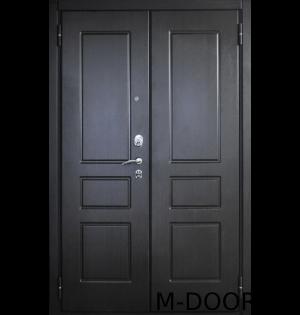 Металлическая двустворчатая дверь МДФ с двух сторон