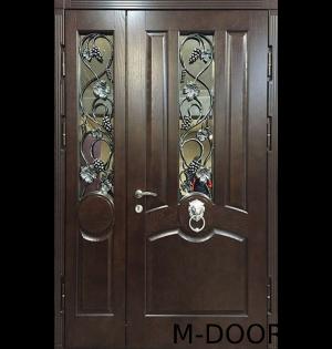 Металлическая двустворчатая дверь филенка с ковкой и стеклом