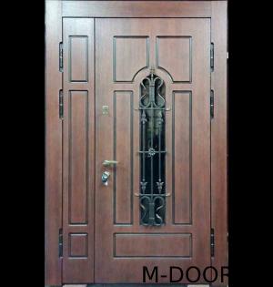 Стальная двустворчатая дверь филенка с ковкой и стеклом