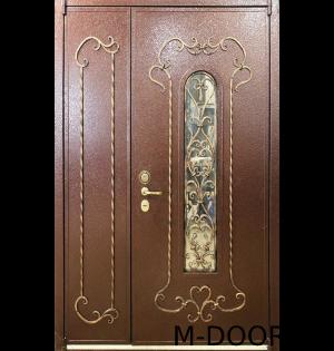 Двустворчатая дверь порошок ковка со стеклом и филенка