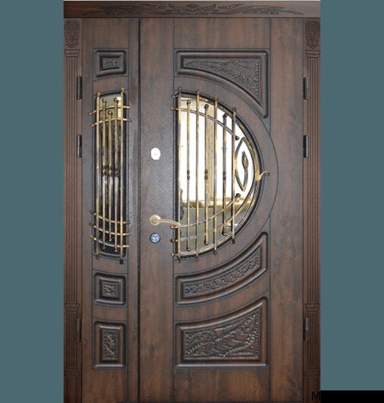 Двустворчатая дверь филенка с ковкой и стеклом