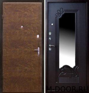 Стальная дверь с отделкой винилискожа и МДФ с зеркалом