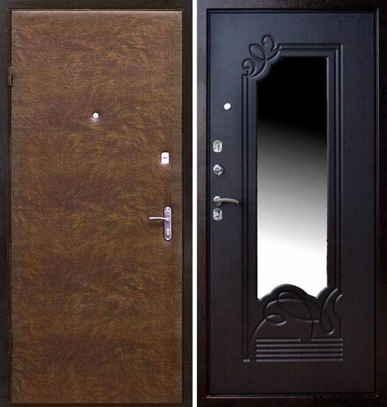 Входная наружная дверь винилискожа и МДФ с зеркалом