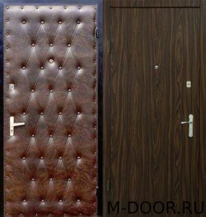 Металлическая дверь в квартиру винилискожа дутая и ламинат 1