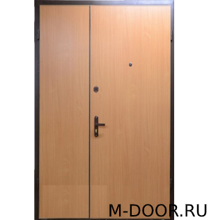 Металлическая двустворчатая дверь ламинат и винилискожа