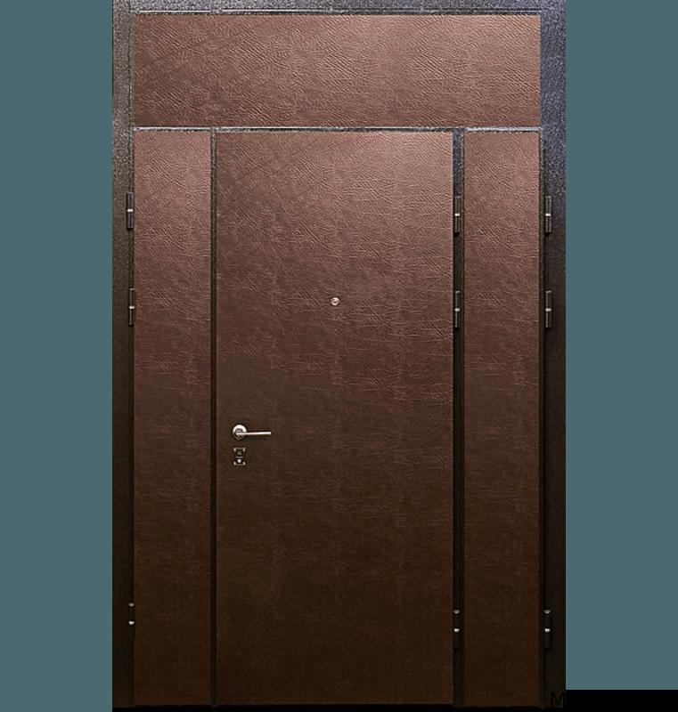 Стальная тамбурная дверь винилискожа с верхней вставкой