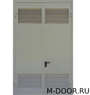 Двустворчатая техническая дверь с решетками 1