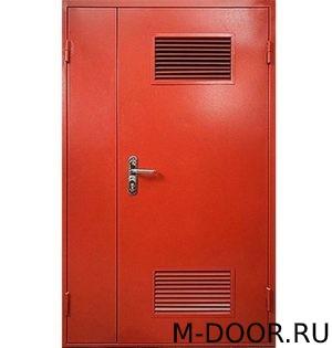 Полуторная техническая дверь с двумя решетками 5