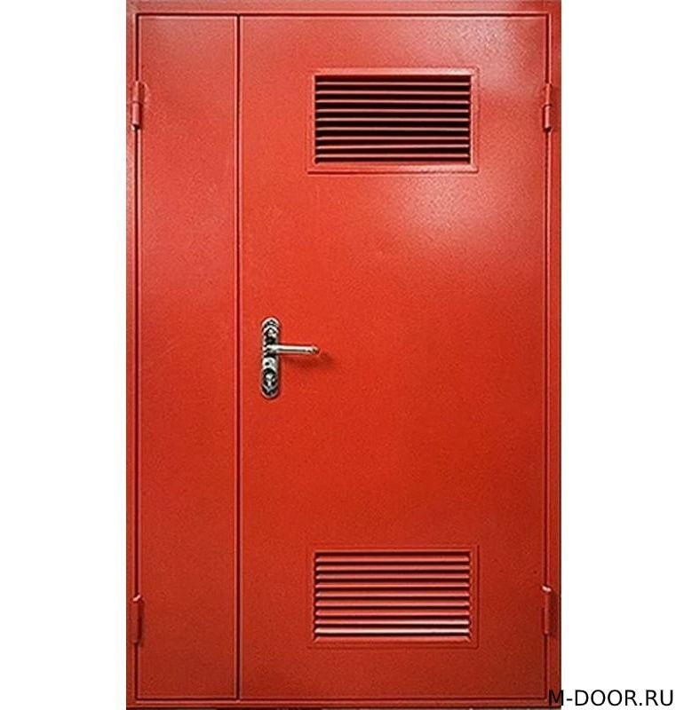 Полуторная техническая дверь с двумя решетками