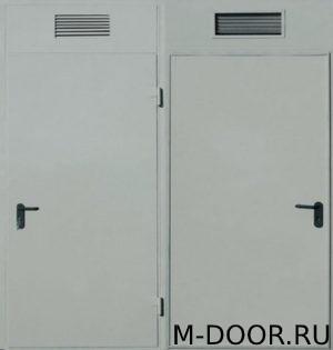 Техническая дверь со вставкой и решеткой сверху купить на заказ