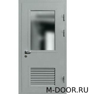 Стальная техническая дверь с решеткой и стеклом 2