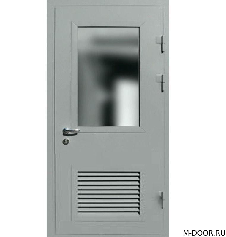 Стальная техническая дверь с решеткой и стеклом