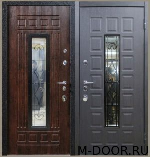 Металлическая трехконтурная дверь МДФ с ковкой и стеклом 3