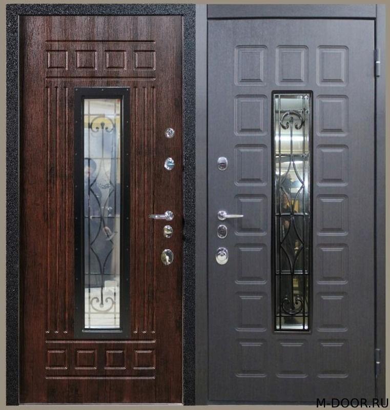 Металлическая трехконтурная дверь МДФ с ковкой и стеклом