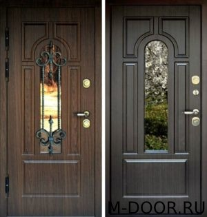 Металлическая дверь с терморазрывом ковкой и стеклом МДФ Винорит