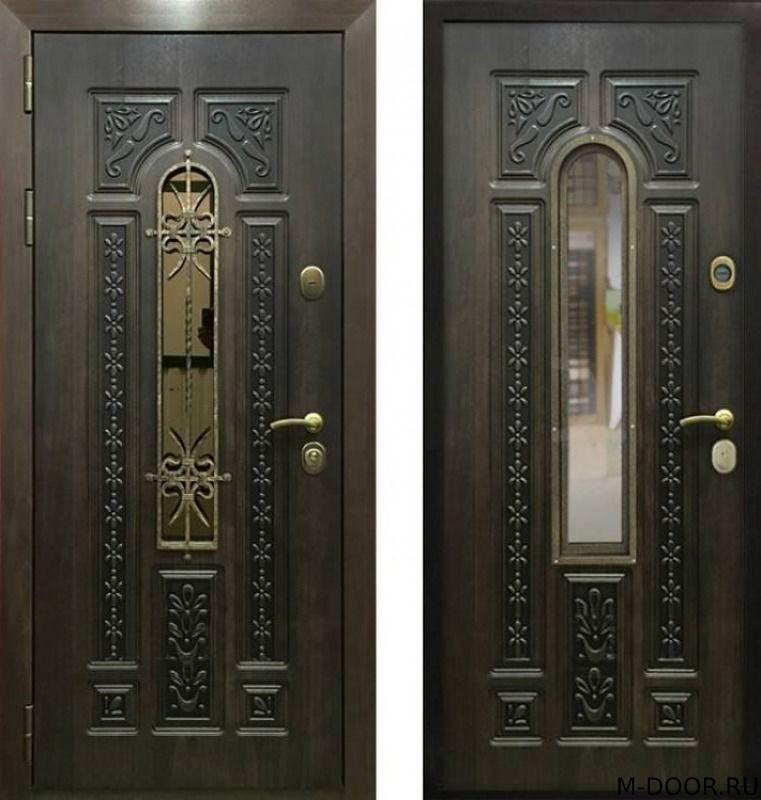 Входная дверь с терморазрывом ковкой и стеклом МДФ Винорит