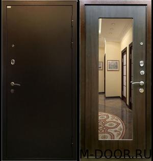 Входная дверь в квартиру порошковое напыление и МДФ с зеркалом