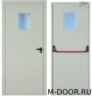Однопольная противопожарная дверь со стеклом и антипаника 1