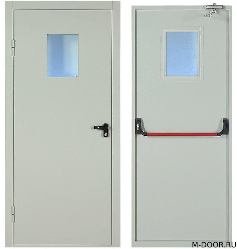 Однопольная противопожарная дверь со стеклом и антипаника