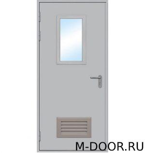 Однопольная противопожарная дверь со стеклом и решеткой