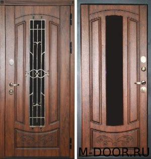 Металлическая дверь Сфинкс МДФ (Винорит) 16 мм с ковкой и стеклом 4