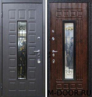 Металлическая дверь Сенатор МДФ (Винорит) 16 мм с ковкой и стеклом 12