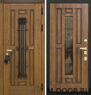 Стальная дверь Мадрид МДФ (Винорит) 16 мм с ковкой и стеклом 1