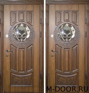 Дверь стальная Афины МДФ (Винорит) 16 мм с ковкой и стеклом 5