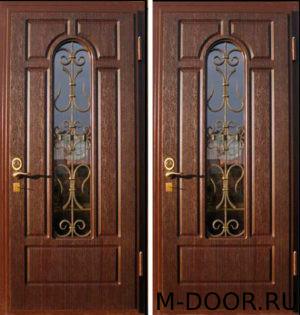 Дверь стальная Палермо МДФ (Винорит) 16 мм с ковкой и стеклом 4