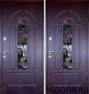 Дверь металлическая  Русь МДФ (Винорит) 16 мм с ковкой и стеклом 1