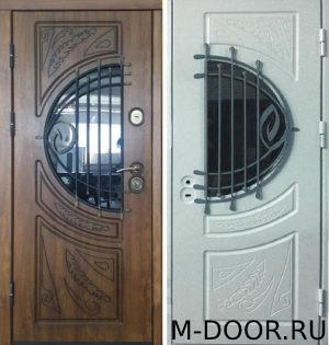 Дверь металлическая  Прага МДФ (Винорит) 16 мм с ковкой и стеклом 3