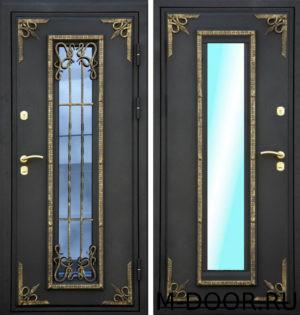 Дверь стальная Берген МДФ (Винорит) 16 мм с ковкой и стеклом 5