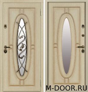 Дверь стальная Монарх МДФ (Винорит) 16 мм с ковкой и стеклом 4
