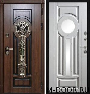 Дверь стальная Сцилия МДФ (Винорит) 16 мм с ковкой и стеклом 3
