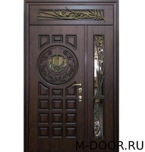 Парадная двустворчатая дверь Турричи МДФ с ковкой и стеклом 3