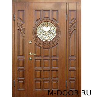 Двустворчатая парадная дверь Турричи МДФ с фрамугами 5