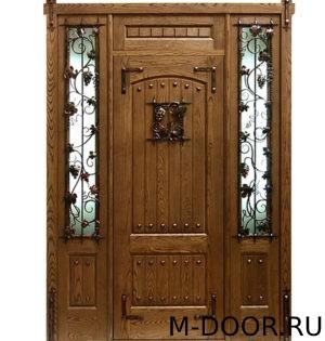 Парадная дверь Крепость МДФ (Винорит) с ковкой и стеклом 2