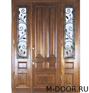 Парадная дверь Палермо МДФ (Винорит) с ковкой и стеклом 1